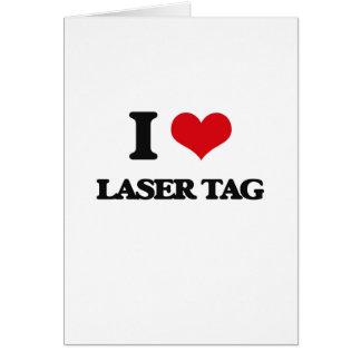 Amo la etiqueta del laser tarjetón
