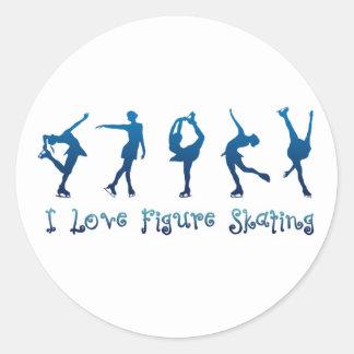 Amo la figura azul patinador pegatina redonda