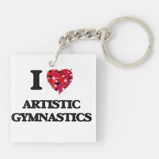 Amo la gimnasia artística llavero cuadrado acrílico a doble cara