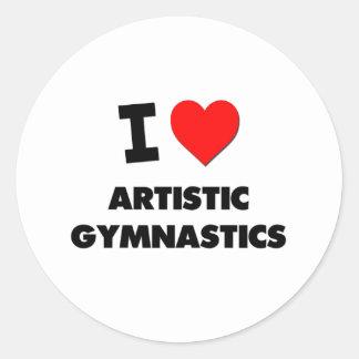 Amo la gimnasia artística pegatina redonda
