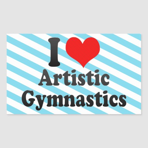Amo la gimnasia artística rectangular pegatinas