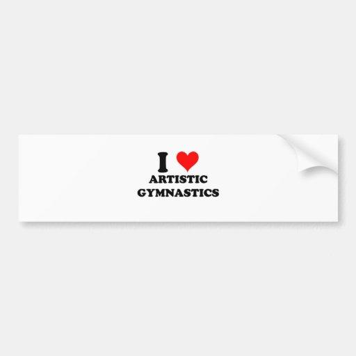 Amo la gimnasia artística etiqueta de parachoque