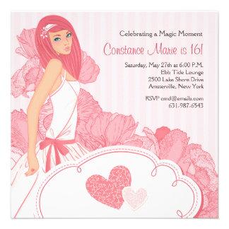 Amo la invitación rosada del dulce dieciséis