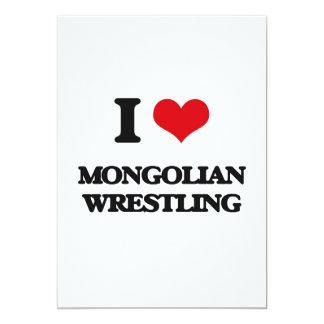 Amo la lucha mongol invitación 12,7 x 17,8 cm