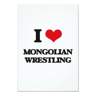Amo la lucha mongol invitación 8,9 x 12,7 cm