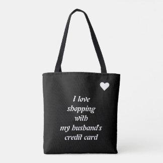 Amo la plantilla que hace compras bolsa de tela