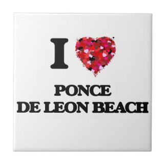 Amo la playa la Florida de Ponce De León Azulejo Cuadrado Pequeño