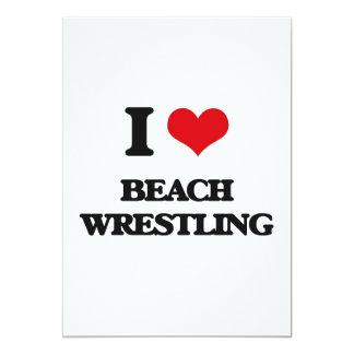 Amo la playa que lucha invitación 12,7 x 17,8 cm