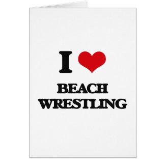 Amo la playa que lucha tarjeton