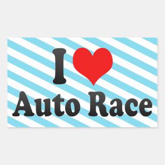Amo la raza auto rectangular pegatina