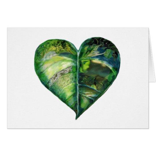 Amo la tarjeta en blanco verde