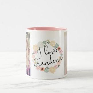 Amo la taza de encargo de la foto de la abuela taza de café de dos colores