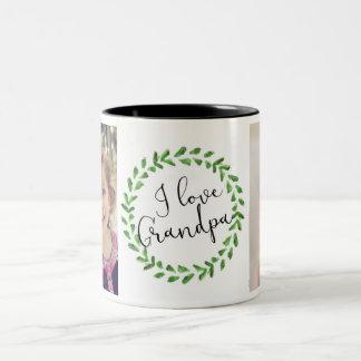 Amo la taza de encargo de la foto del abuelo taza de café de dos colores