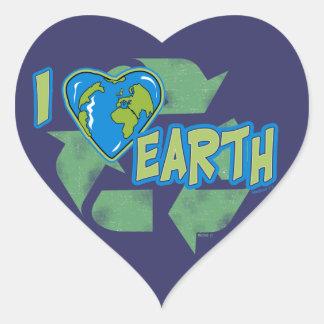 Amo la tierra reciclo al pegatina