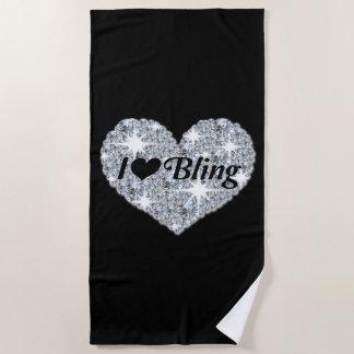 Amo la toalla de playa de Bling