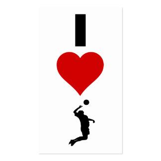Amo la vertical del voleibol (el varón) tarjetas de visita