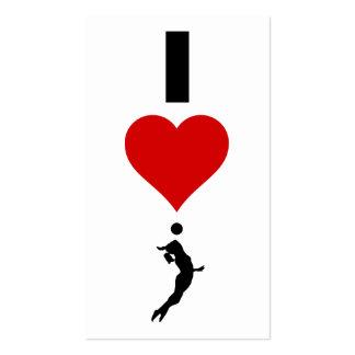 Amo la vertical del voleibol (femenina) tarjetas de visita