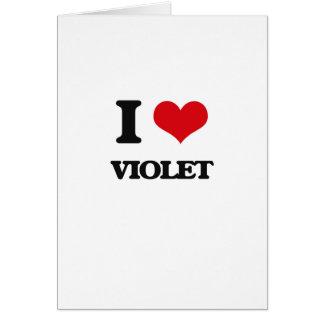 Amo la violeta tarjeta de felicitación