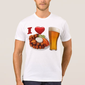 Amo las alas de búfalo y la camiseta de la cerveza