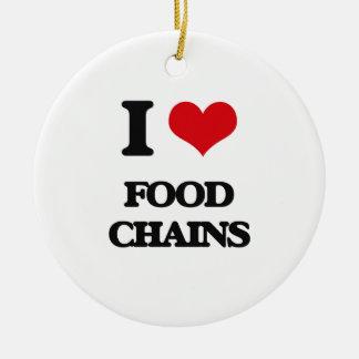 Amo las cadenas alimentarias adorno redondo de cerámica