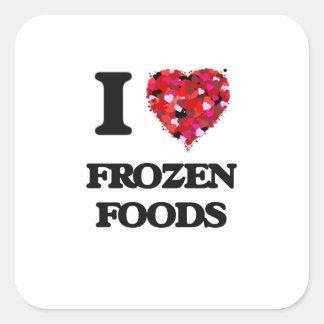 Amo las comidas congeladas pegatina cuadrada