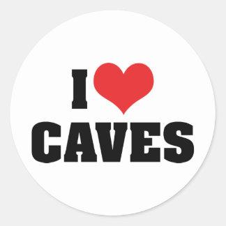 Amo las cuevas del corazón - exploración pegatina redonda