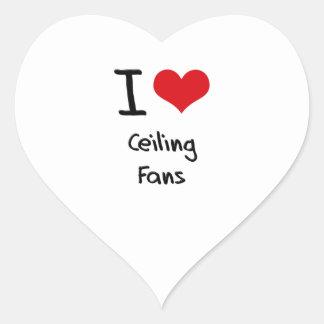 Amo las fans de techo calcomanía corazón personalizadas