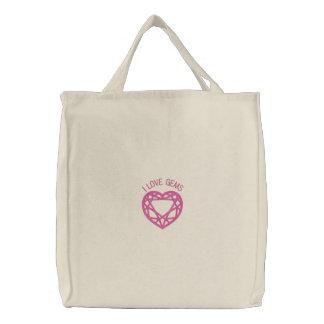 Amo las gemas - gema tallada bordada del corazón bolsas bordadas