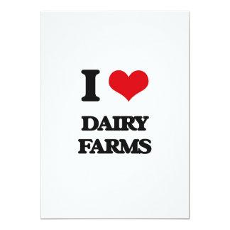 Amo las granjas lecheras invitación 12,7 x 17,8 cm