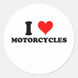 Amo las motocicletas etiquetas redondas