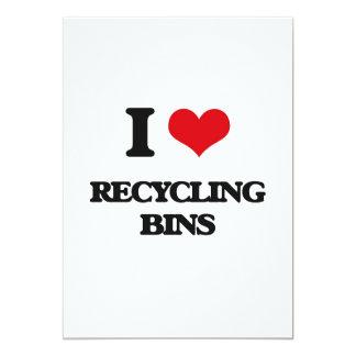 Amo las papeleras de reciclaje invitación 12,7 x 17,8 cm