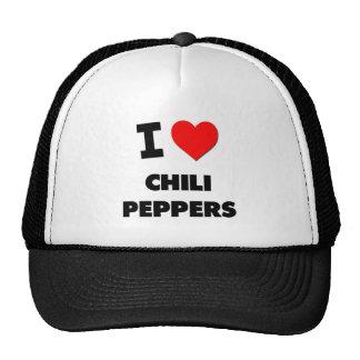 Amo las pimientas de chile gorras de camionero