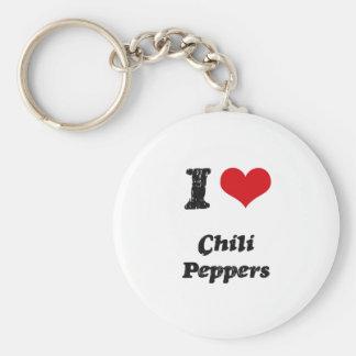 Amo las pimientas de chile llavero personalizado