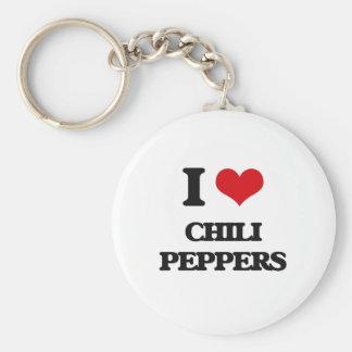 Amo las pimientas de chile llavero redondo tipo chapa