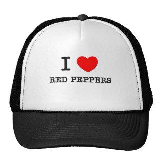 Amo las pimientas rojas gorras