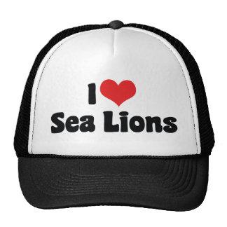 Amo leones marinos del corazón gorro