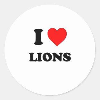 Amo leones etiquetas redondas