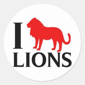 Amo leones pegatina redonda