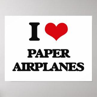 Amo los aeroplanos de papel impresiones