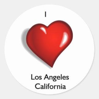 Amo Los Ángeles California Pegatina Redonda