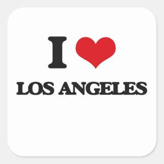 Amo Los Ángeles Calcomania Cuadrada Personalizada