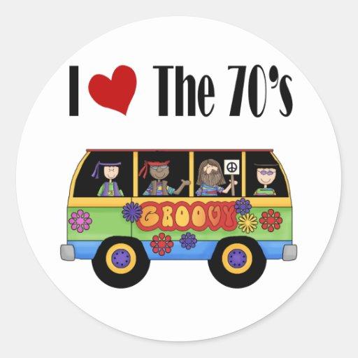 Amo los años 70 etiquetas redondas