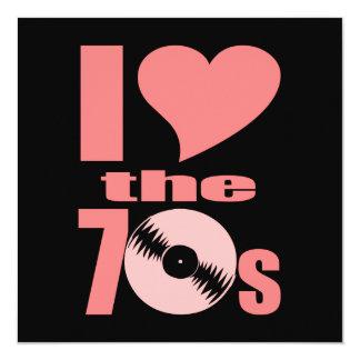 Amo los años 70 invitación personalizada