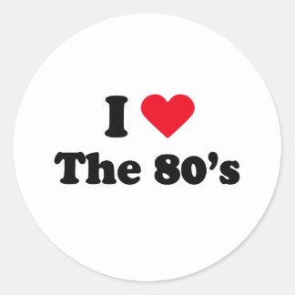 Amo los años 80 pegatinas redondas