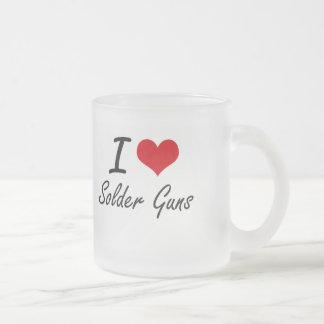 Amo los armas de la soldadura taza de cristal