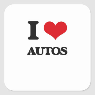 Amo los automóviles calcomanías cuadradas