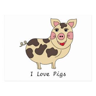 Amo los cerdos caprichosos postal