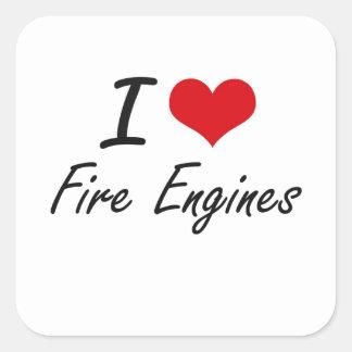 Amo los coches de bomberos pegatina cuadrada