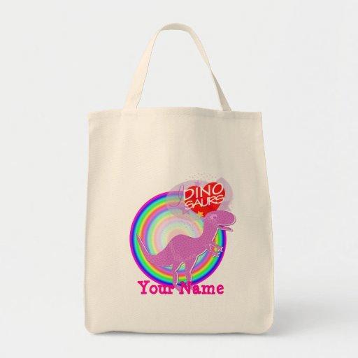 Amo los dinosaurios T-Rex púrpura su bolso conocid Bolsa Lienzo