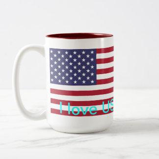 Amo los E.E.U.U. Taza De Café De Dos Colores